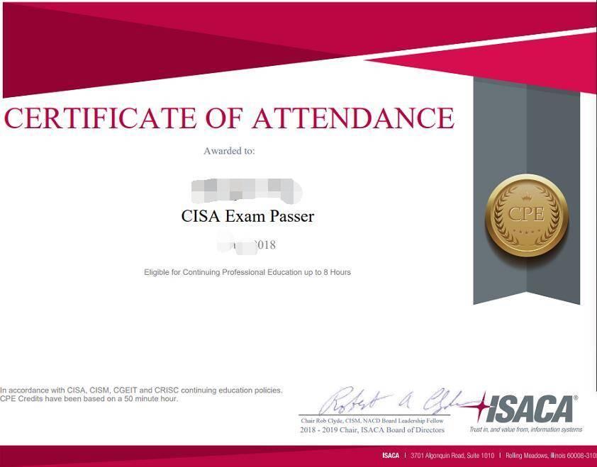喜讯!恭喜来自CISA-1904上海面授班的学员林琳通过考试 -- 第2张