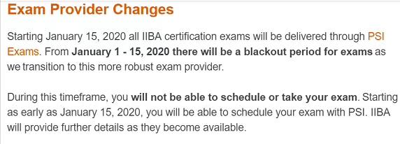 【重磅消息】IIBA合作机考厂商有变,年初暂停考试请求 -- 第2张